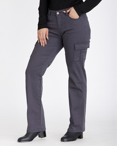 Contempo Cargo Trousers Charcoal