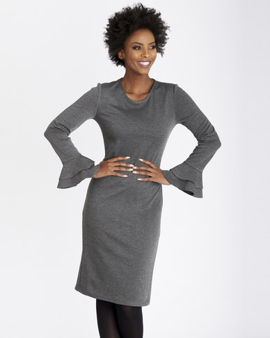 Contempo Plain Ponti Dress With Frill Sleeve Charcoal
