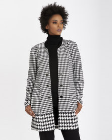 Contempo Houndstooth Border Coat Ivory