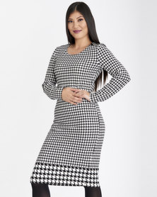 Contempo Houndstooth Border Dress Ivory