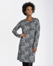 Contempo Animal Print Tunic Grey