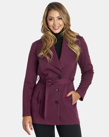 Contempo Wide Collar Jacket & Tie Belt Plum