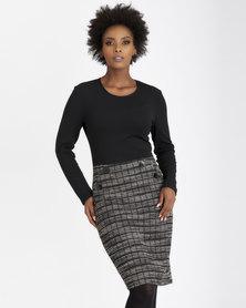 Contempo Textured Combo Dress Black