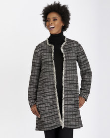 Contempo Textured Coat With Fringing Black
