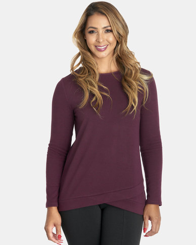 Contempo Crew Neck Top With Hemband Plum