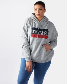 Levi's ® Plus Size Graphic Hoodie Sportswear Logo Smokestack Grey
