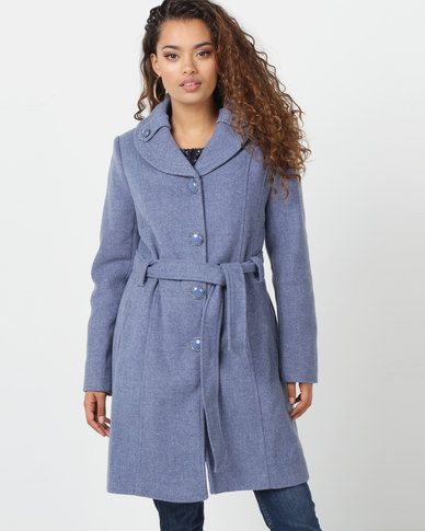 Queenspark Denim Melange Dream Coat Blue