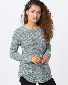 cath.nic By Queenspark Curved Hem Chunky Knit Jersey Green