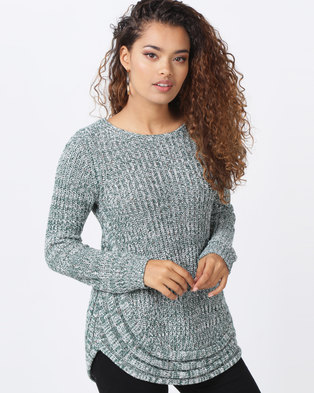 ba72ecac93c2 cath.nic By Queenspark Curved Hem Chunky Knit Jersey Green