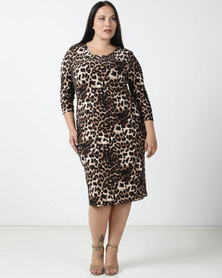 Queenspark Plus Collection Animal Printed Bodycon Knit Dress Brown