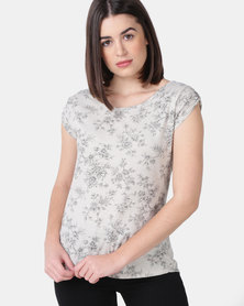 UB Creative Cotton Lycra Print Blouse Stone
