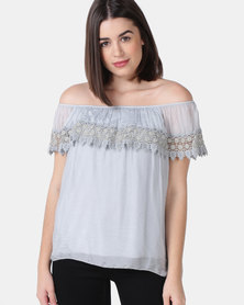 UB Creative Silk Peasant Top with Embroidery Detail - Grey