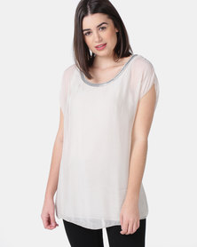 UB Creative Silk Blouse with Silver Neck Detail - Stone