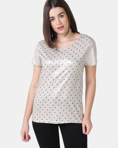 UB Creative Cotton-Lycra Polka Dot T-Shirt - Stone