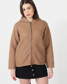 UB Creative Hoodie Jacket with Zip - Beige