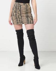 UB Creative Short Snake Print Skirt