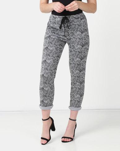UB Creative Paisley Print Pants - Grey