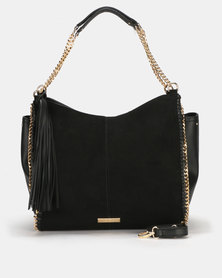 Queenspark 2 Tone Hobo with Side Chain Detail Handbag Black