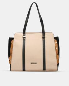 Queenspark  Colour Block Bag with Side Stud Detail Handbag Beige