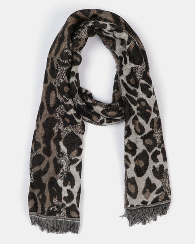 Queenspark Warm Handle Scarf Animal Print Taupe