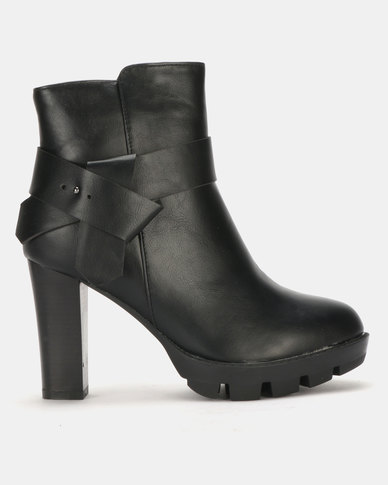 Utopia Crossover Strap Heeled Ankle Boots Black