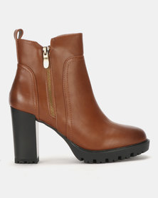 Utopia Stitch Detail Heeled Boots Tan