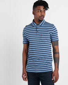 Levi's ® Ama Short Sleeve Sunset Polo Crush Arctic Blue