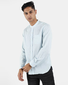 Levi's ® Mandarin 1 Pocket Burrows Arctic Shirt Blue Strip