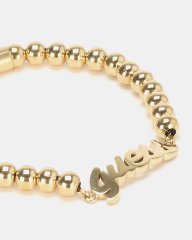Guess Be My Friend Beads and Logo Bracelet Gold-Plated