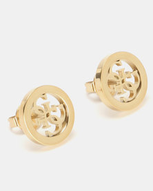 Guess Tropical Sun Logo Stud Earrings Gold-Plated