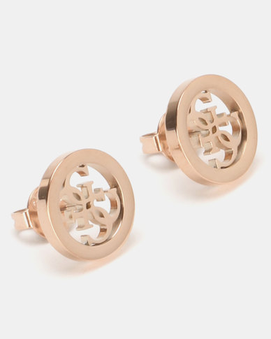 Guess Tropical Sun Logo Stud Earrings Rose Gold-Plated