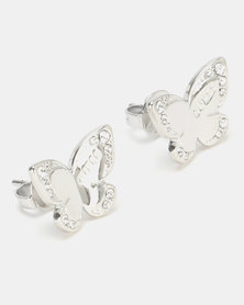 Guess Love Butterfly Stud Earrings Silver-Plated