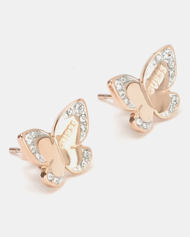 Guess Love Butterfly Stud Earrings Rose Gold-Plated