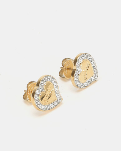 Guess Heart Warming Stud Earrnings Gold-Plated