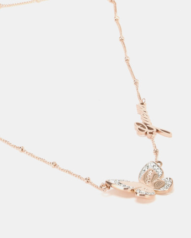 Guess Love Butterfly Chain Rose Gold-Plated