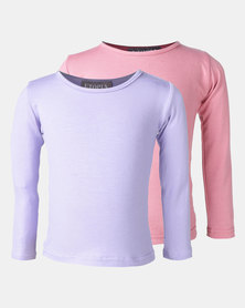 Utopia 2 Pack Basic Long Sleeve Tees Pink/Lilac