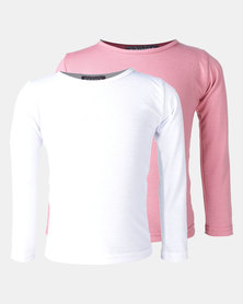Utopia 2 Pack Basic Long Sleeve Tees Pink/White