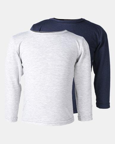 Utopia 2 Pack Basic Long Sleeve Tee Navy/Grey