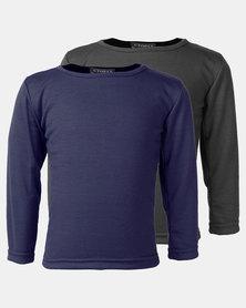 Utopia 2 Pack Longsleeve Basic Tees Navy/Grey