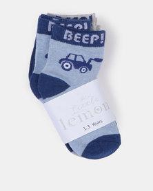 Little Lemon Animal Socks Blue