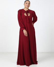 Plus-Fab Brandy Knit Dress Maroon