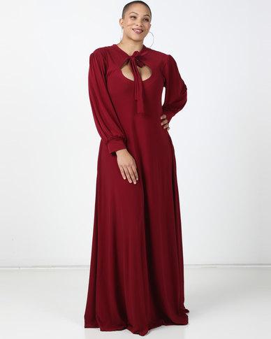 Plus-Fab Brandy Knit Dress Maroon