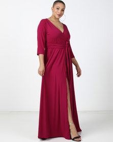 Plus-Fab Precious Wrap Dress Pink