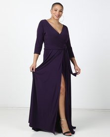 Plus-Fab Precious Wrap Dress Purple
