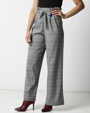 Utopia Check Wide Leg Trousers Black/White