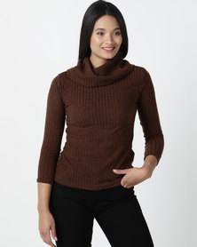 Utopia Cut n Sew Cowl Neck Top Coffee