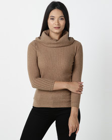 Utopia Cut n Sew Cowl Neck Top Camel