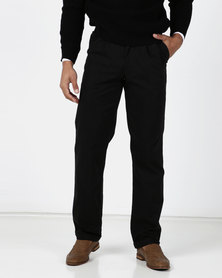 Utopia Black Cotton Twill Chino With Turn-up detail
