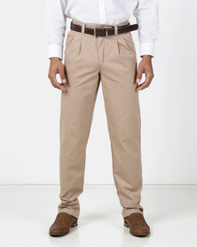 Utopia Khaki Cotton Twill Chino With Turn-up detail