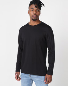 Utopia Basic 100% Cotton Long Sleeve Tee Black